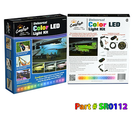 Universal Color With White LED Add On Awning Light Kit Remote