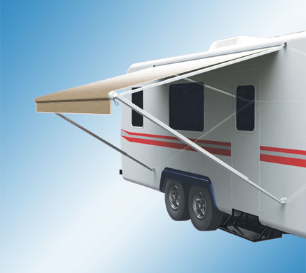 Pioneer Lite Awning With Camel Shale Fade Fabric